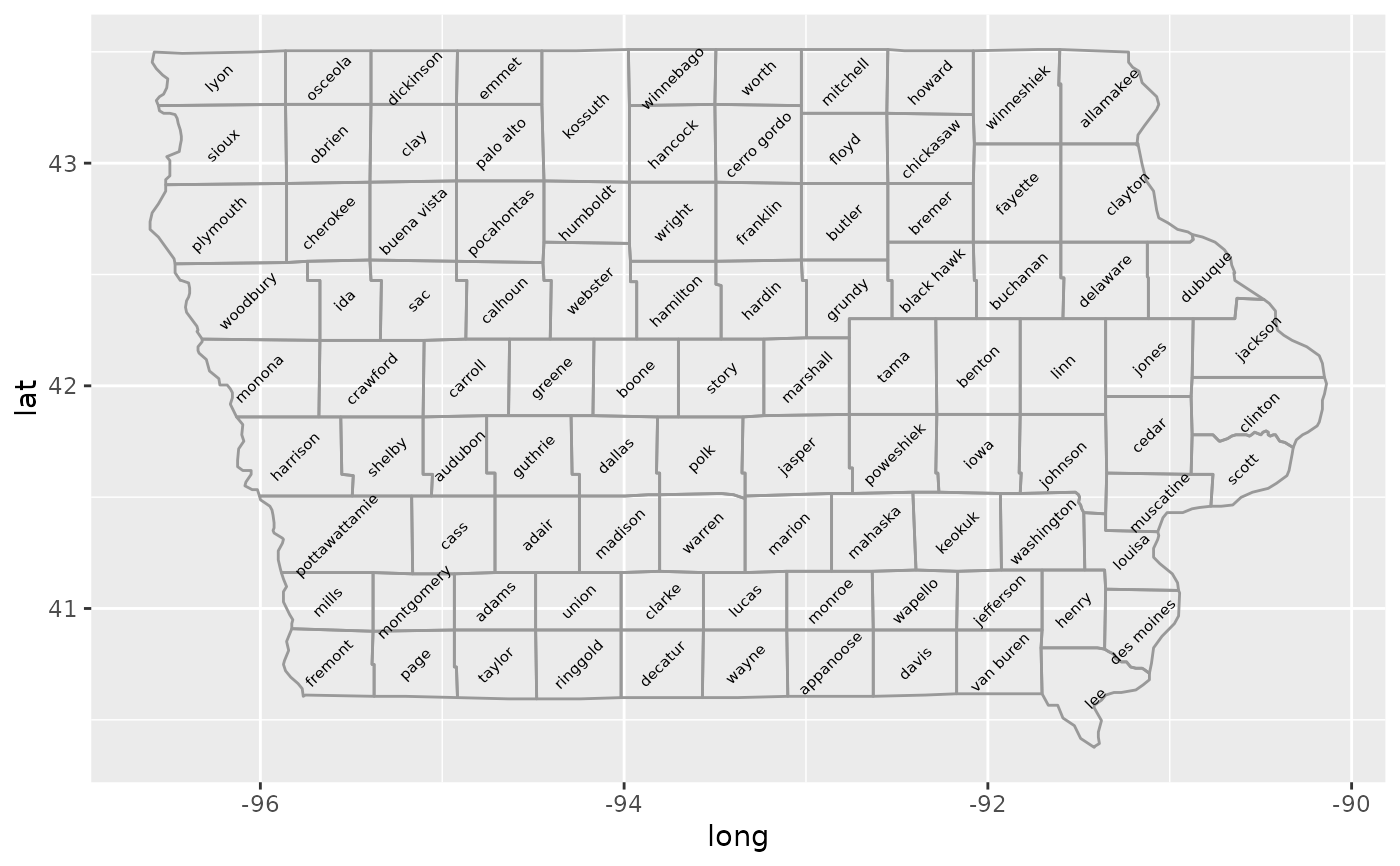 Create a layer of map borders — borders • ggplot2