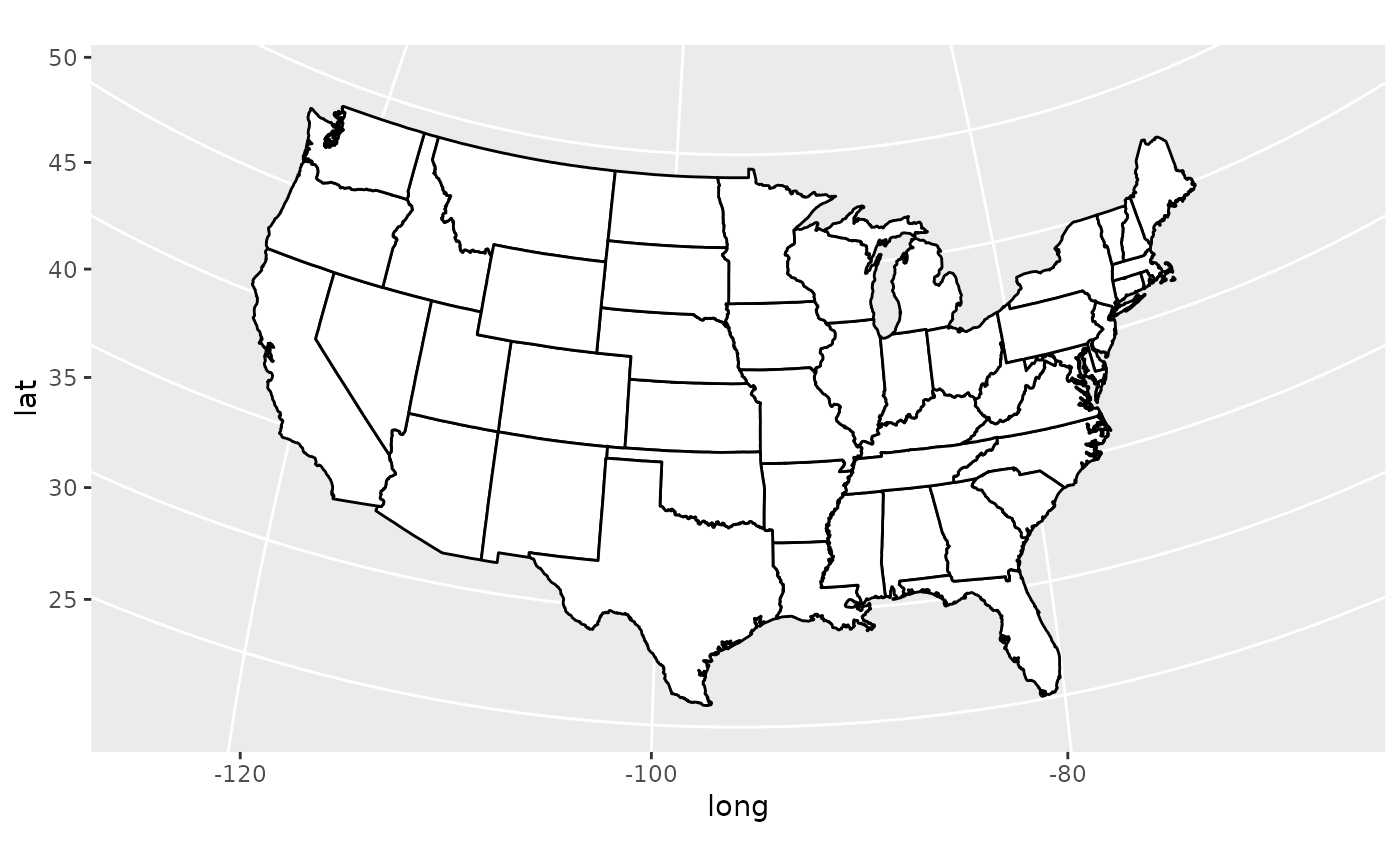 Map projections — coord_map • ggplot2